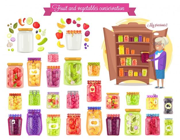Conservación de frutas, vegetales, ilustración vectorial