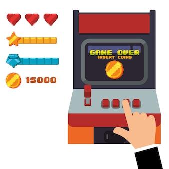 Consola de juegos de arcade retro joystick