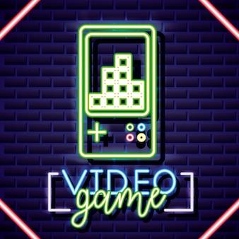 Consola personal, videojuego estilo neón lineal