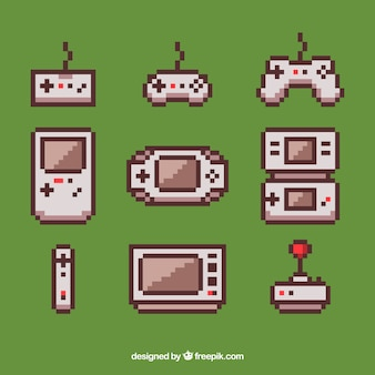 Consolas y jocksticks pixelados