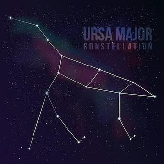 La constelación del gran oso. fondo estrella con big dipper. fondo de pantalla estrellado. ilustración de la constelación de la osa mayor
