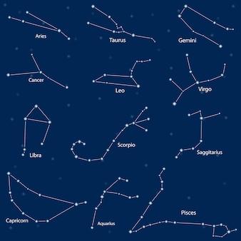Ð¡constelación de los signos del zodíaco, ilustración vectorial
