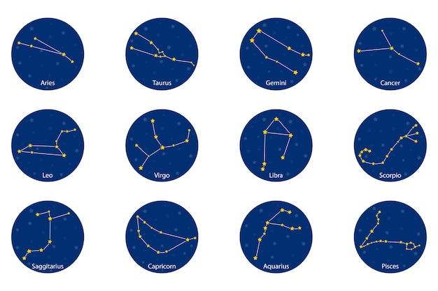 Constelación de los signos del zodíaco, ilustración vectorial