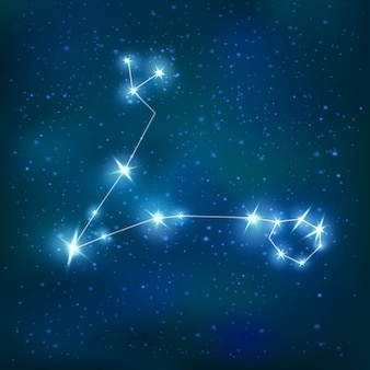 Constelación zodiacal realista de piscis con estructura poligonal azul brillante en el cúmulo de estrellas