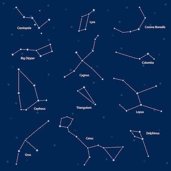 Constelaciones: casiopea, cazo grande, cefeo, lyra, grus, cygnus, triangulum, cetus, corona borealis, columba, lepus, delphinus, ilustración vectorial