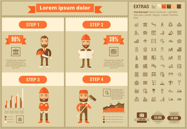 Constraction plano diseño infográfico plantilla y conjunto de iconos