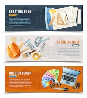 Construcción arquitecto herramientas banners