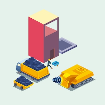 Construcción, camión volquete, excavadora y fábrica, diseño de icono de estilo isométrico de remodelación, trabajo y reparación