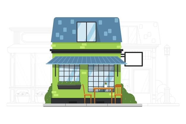 Construcción de casas. pequeña casa de barrio. cafetería o hostal exterior del edificio de apartamentos residencial. calle adyacente con ilustración de silueta de mansión