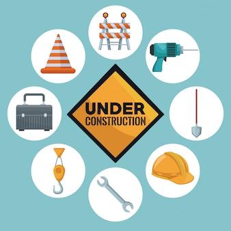 Construcción y en el centro del texto de la señal de tráfico en construcción