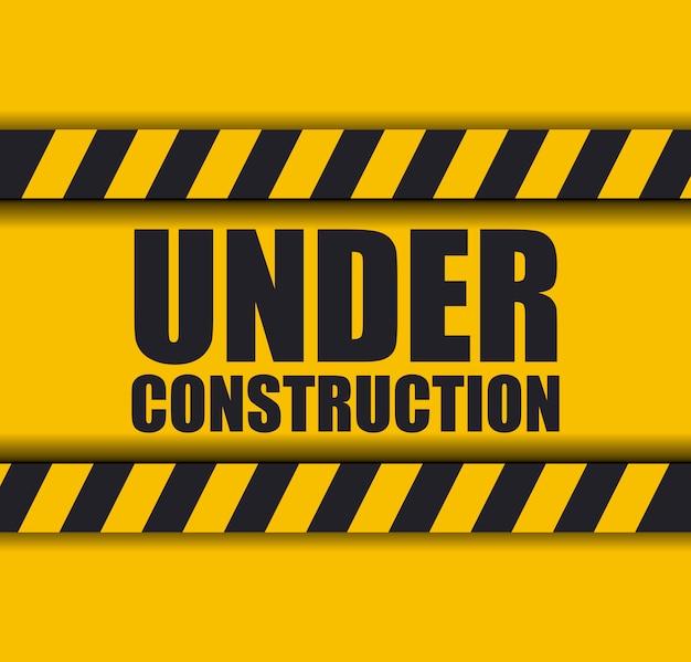 En construcción con cinta de precaución para sitio web.