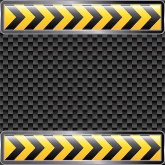 En construcción cintas sobre fondo negro ilustración vectorial