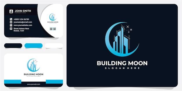 Construcción de concepto de diseño de logotipo de luna y estrellas. construyendo inspiraciones de diseño de logotipos con tarjetas de visita.