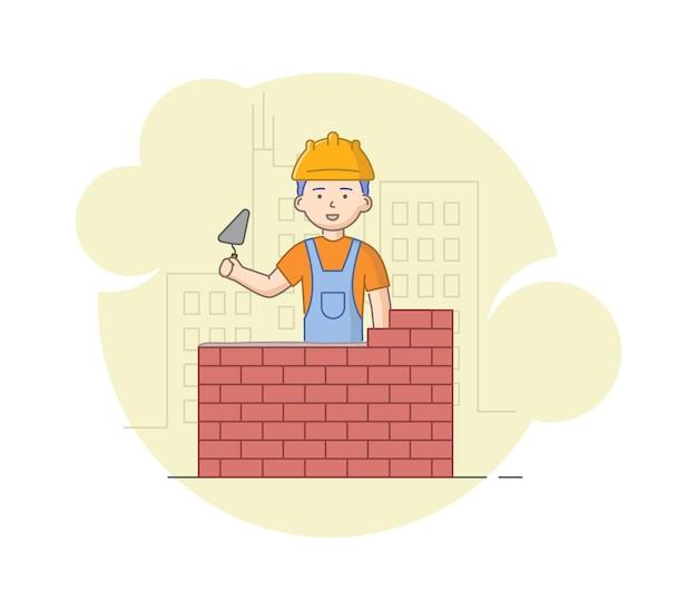 Construcción, concepto de obras de mano de obra pesada. trabajador en uniforme protector y casco de construcción de paredes de ladrillo con paleta en las manos. trabajador de la construcción en el trabajo.