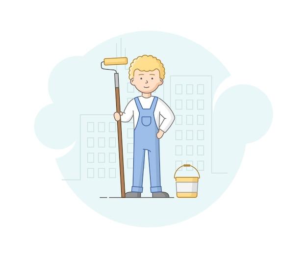 Construcción, concepto de obras de mano de obra pesada. trabajador en uniforme protector y casco está de pie con el rodillo en las manos. trabajador de la construcción en el trabajo.