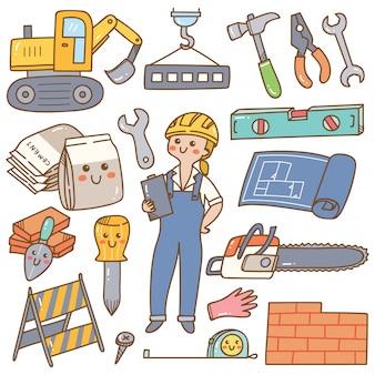 Construcción y construcción kawaii doodle