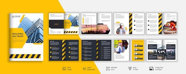 Construcción creativa amarilla y negra o diseño de folleto de construcción vector premium