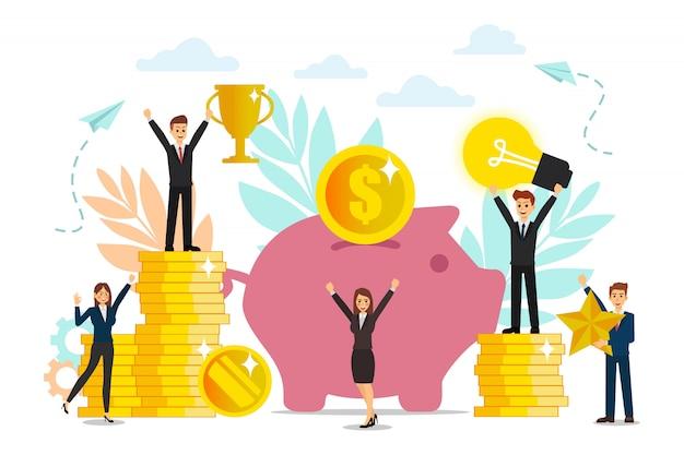 La construcción y el cultivo de las ganancias en efectivo, el crecimiento profesional para el éxito, los iconos de colores planos, el análisis comercial y el equipo tienen una idea.