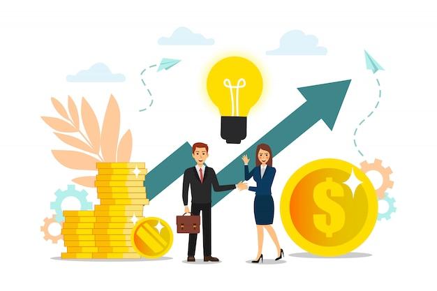 Construcción y cultivo de ganancias en efectivo, crecimiento profesional para el éxito, iconos de colores planos, análisis de negocios.