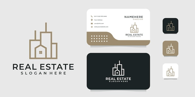 Construcción de diseño de logotipo de arquitectura con plantilla de tarjeta de visita.