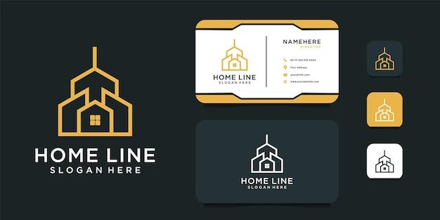 Construcción de diseño de logotipo de bienes raíces con plantilla de tarjeta de visita.