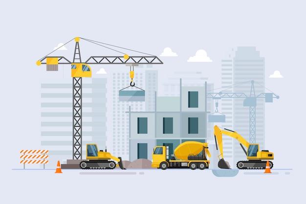 En construcción edificio proceso de trabajo