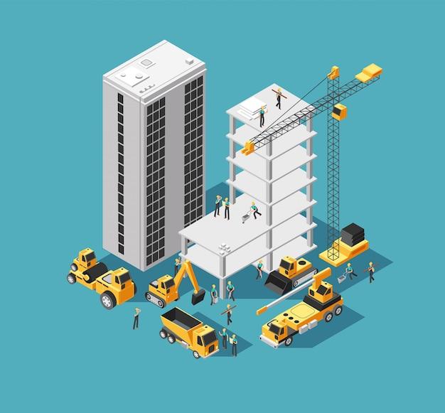 Construcción de edificios 3d isométricos con constructores y maquinaria pesada. fondo de sitio de construcción de casa