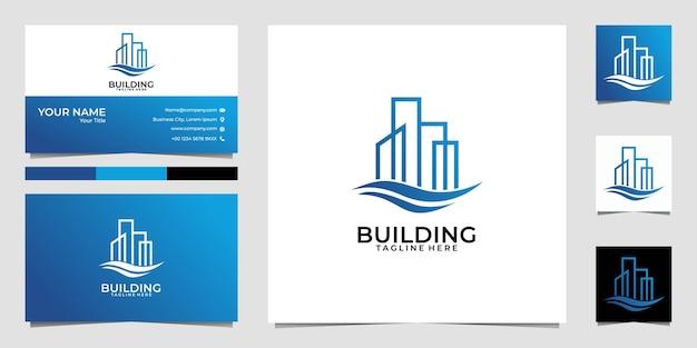 Construcción de edificios bienes raíces línea arte logotipo y tarjeta de visita
