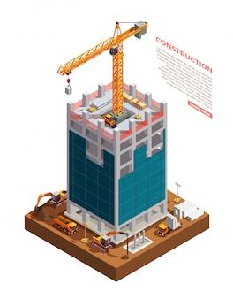 Construcción de edificios isométricos