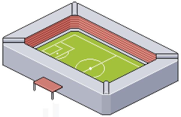Construcción de estadio de fútbol pixel art para juego de bits