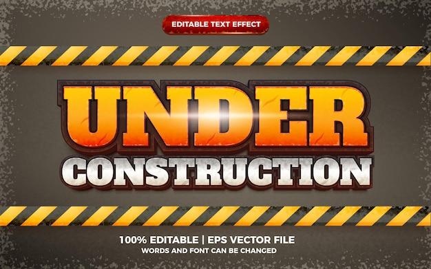 En construcción estilo de plantilla 3d de efecto de texto editable