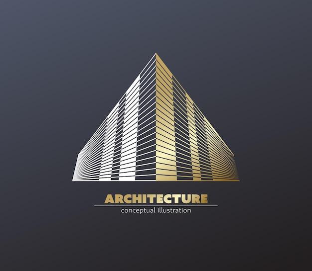 Construcción geométrica y concepto de centro de oficinas.
