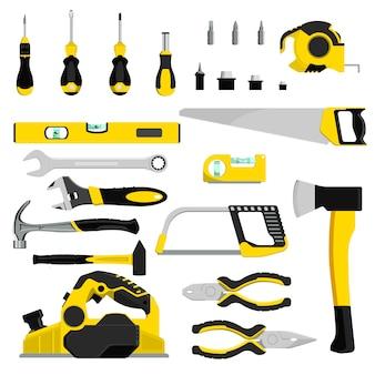 Construcción de herramientas de mano herramientas manuales alicates de martillo y destornillador de caja de herramientas ilustración taller conjunto industrial de carpinteros llave y sierra de mano aislado sobre fondo blanco