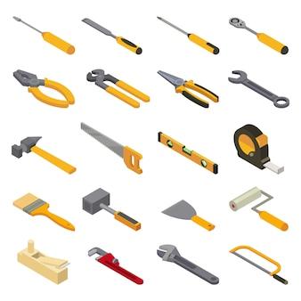Construcción de herramientas manuales herramientas manuales alicates de martillo y destornillador de caja de herramientas taller de ilustración isométrica conjunto industrial de carpinteros llave inglesa y sierra de mano aislado sobre fondo blanco