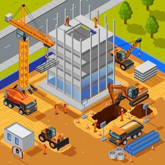 Construcción de la ilustración edificio de varios pisos
