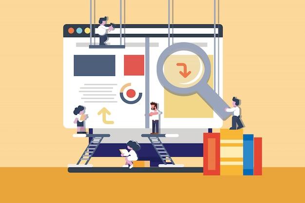 Construcción de la ilustración del sitio web de la oficina de negocios