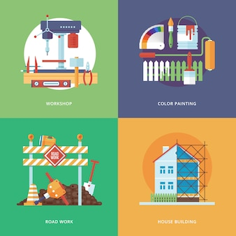 Construcción, industria de construcción y desarrollo de aplicaciones web y móviles. ilustración para taller de metal, pintura en color, obras viales y construcción de viviendas.