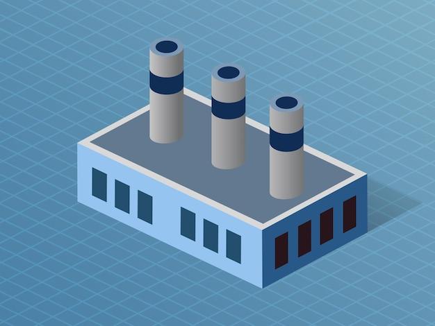 Construcción de la industria de la fábrica dimensional 3d isométrica de la arquitectura moderna de la construcción urbana.