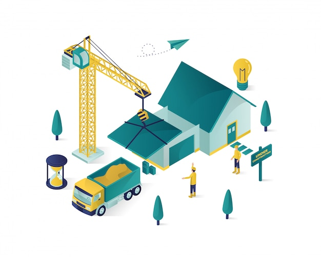 Construcción inmobiliaria isométrica
