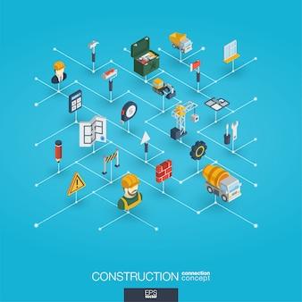 Construcción integrada iconos web 3d. concepto isométrico de red digital