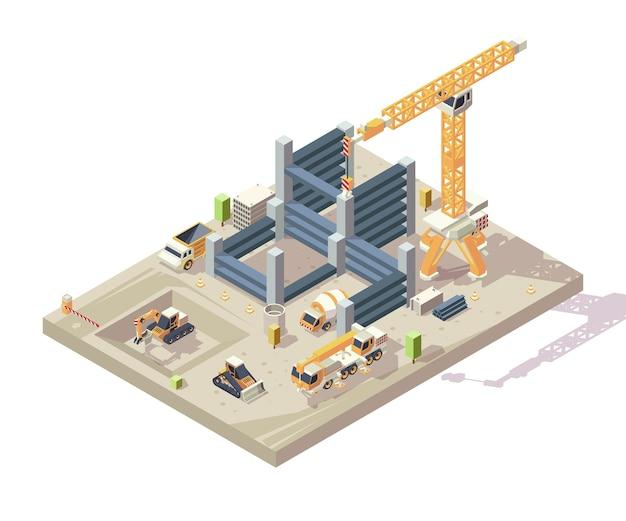 Construcción isométrica. construcción al aire libre de apartamentos altos trabajadores de la construcción vehículos coches amarillos grúa transportador excavadora vector. sitio de construcción de ilustración con bloque isométrico