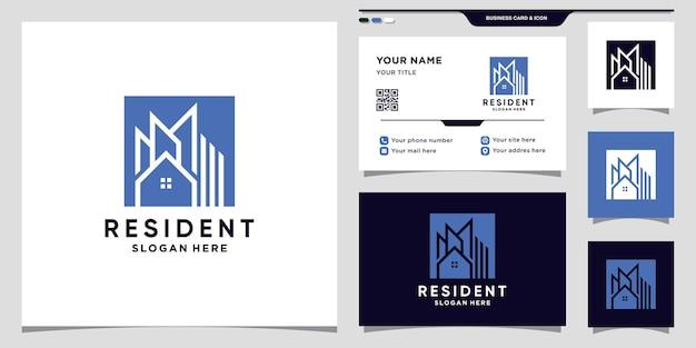 Construcción de logotipo de bienes raíces con concepto de espacio cuadrado negativo y diseño de tarjeta de visita vector premium