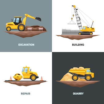 Construcción de maquinaria de construcción 4 iconos planos de diseño con grúa amarilla excavadora