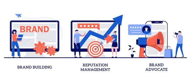 Construcción de marca, gestión de reputación, concepto de defensor de marca con personas pequeñas