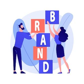 Construcción de marca de producto. diseño de identidad corporativa. estudio de diseñadores de personajes planos trabajo en equipo, cooperación y colaboración. ilustración de concepto de nombre de empresa