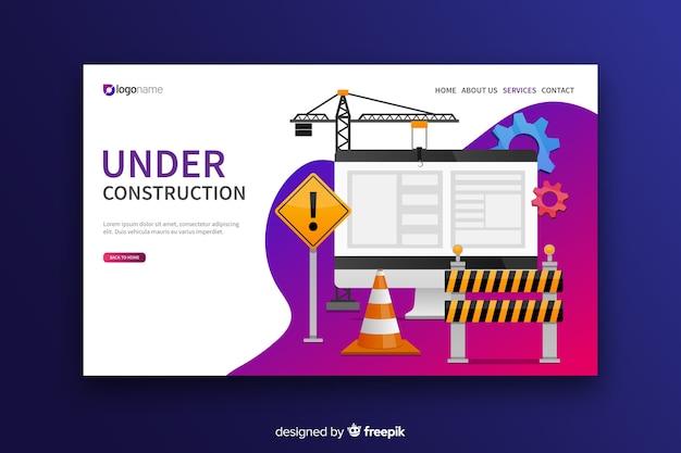 En construcción página de aterrizaje de diseño plano.