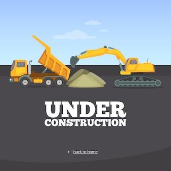 En construcción página. plantilla de página de advertencia del sitio web de construcción de camiones de vehículos amarillos maquinaria pesada