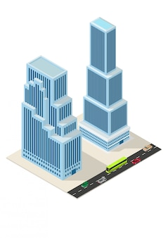 Construcción de rascacielos isométricos