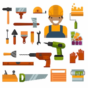 Construcción, reparaciones y decoración de obras vectoriales de herramientas.