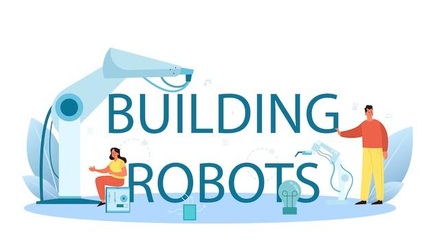 Construcción de texto tipográfico de robots con ilustración.